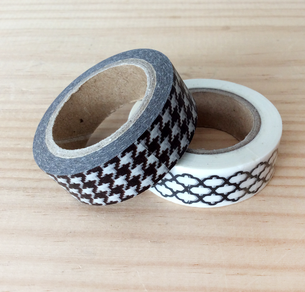 Image of WASHI TAPE PATA DE GALLO BLANCO Y NEGRO