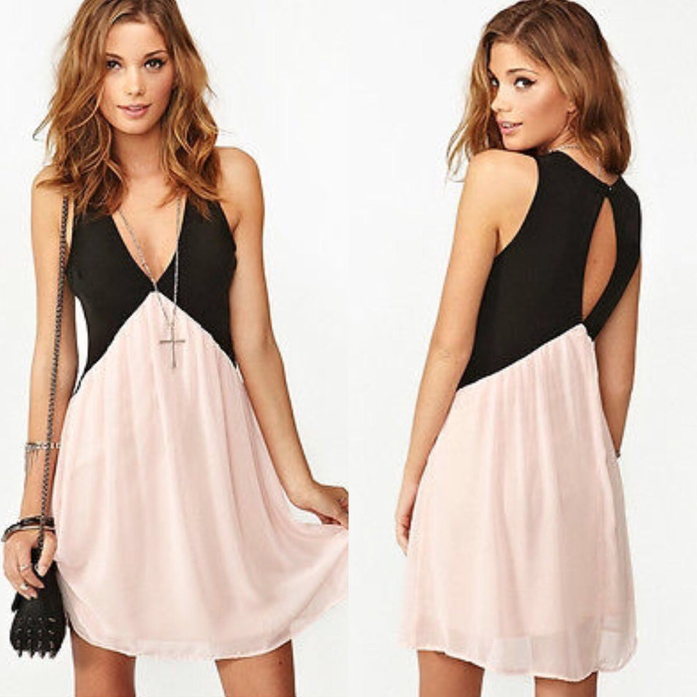 Image of Pink and black colour block skater dress