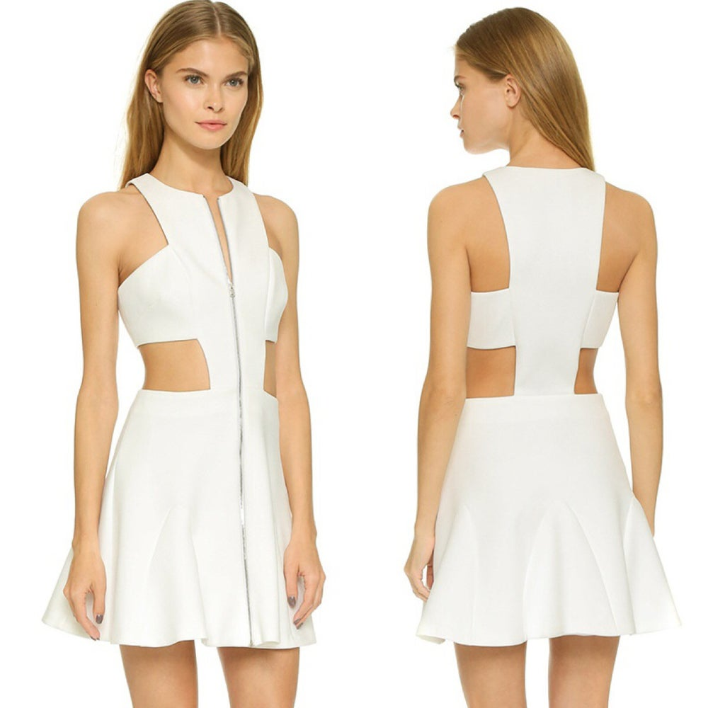 Image of GLAMOURFOXX LUXE White zip front structured cut out flared dress