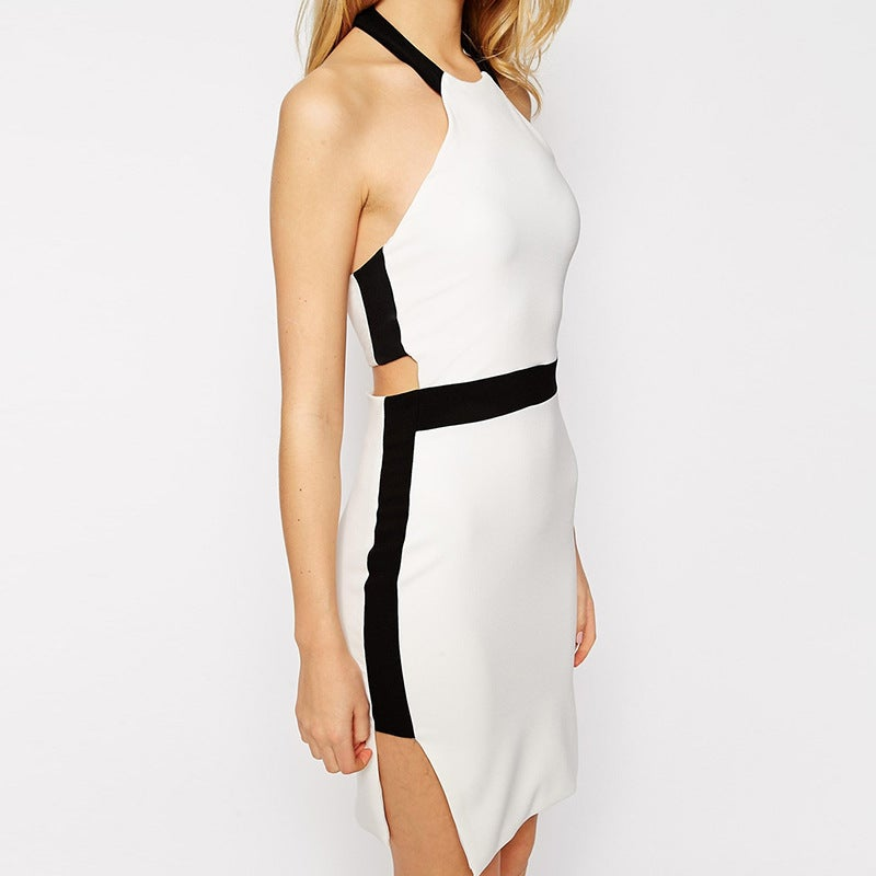 Image of Monochrome cut out panel halter neck dress