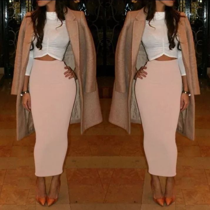 Image of Nude maxi skirt
