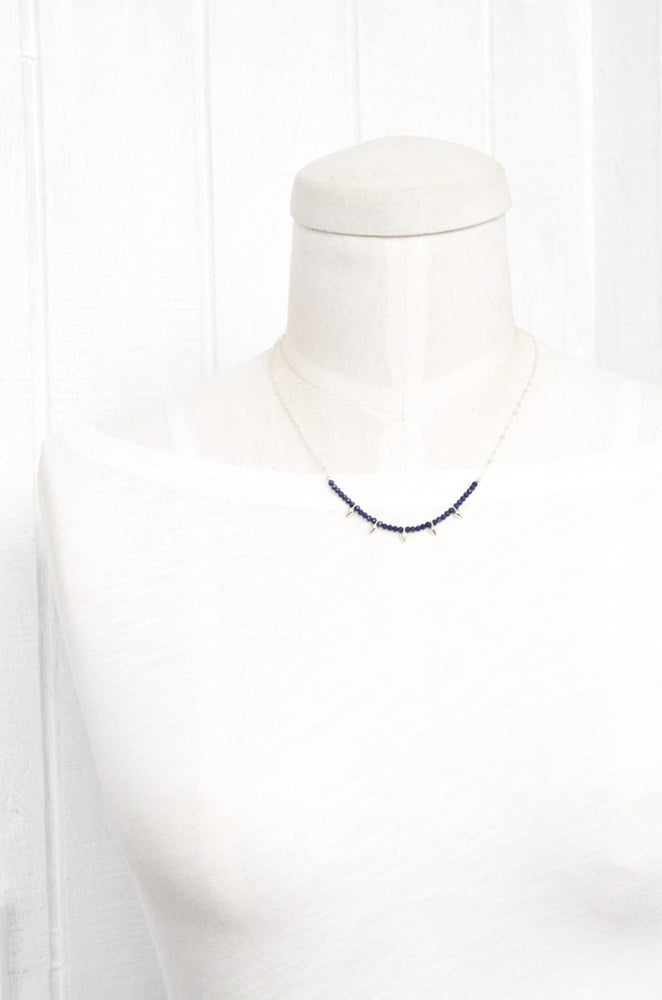 Image of Lapis lazuli sterling silver spike necklace