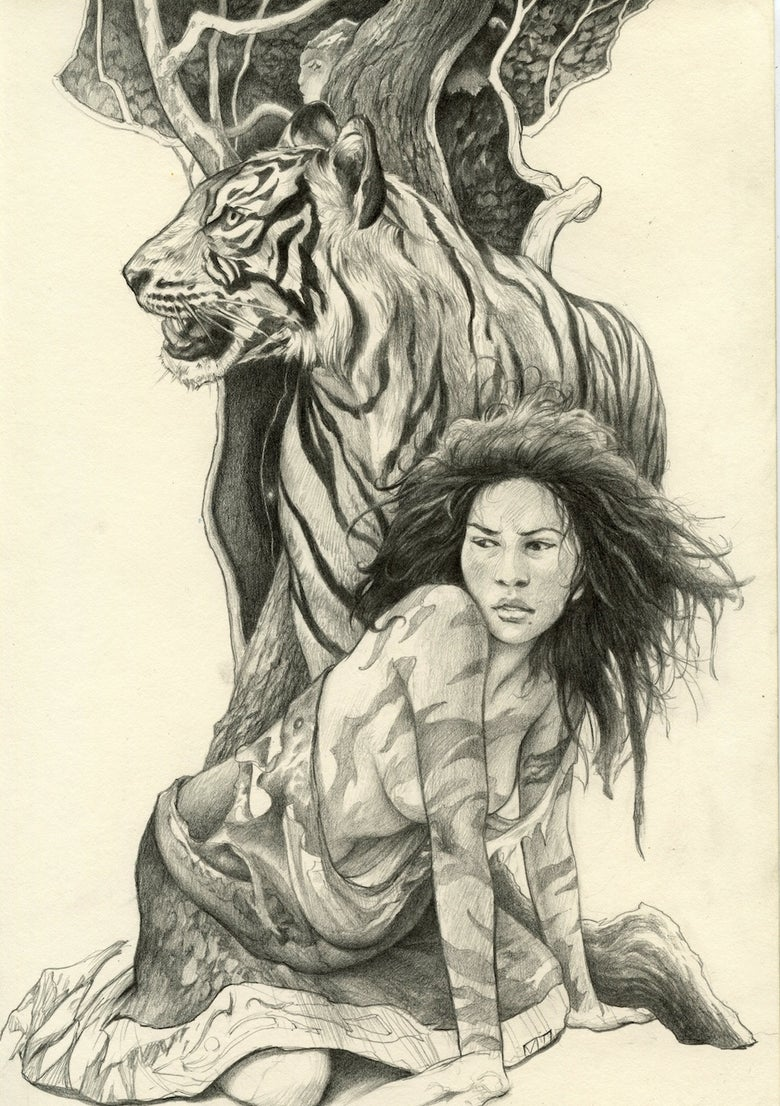"Image of "" Wild Woman with Tiger """