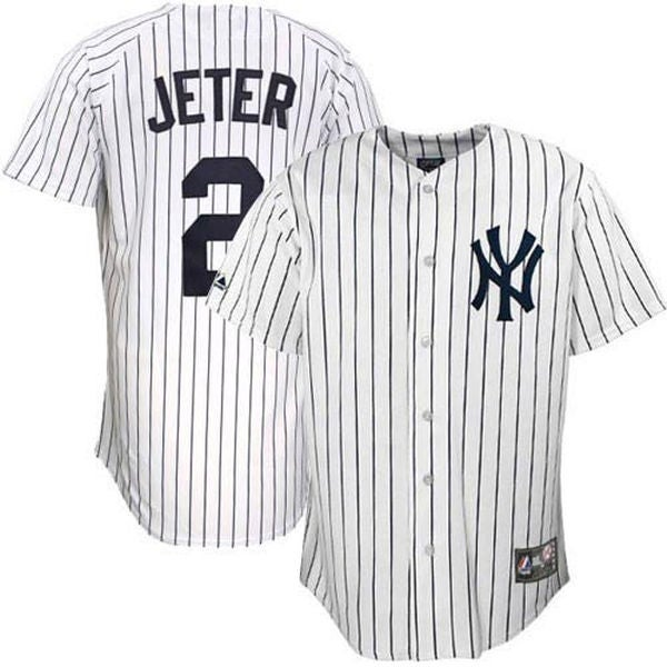 Image of Men's New York Yankees Derek Jeter White/Navy Home Retirement Patch Jersey