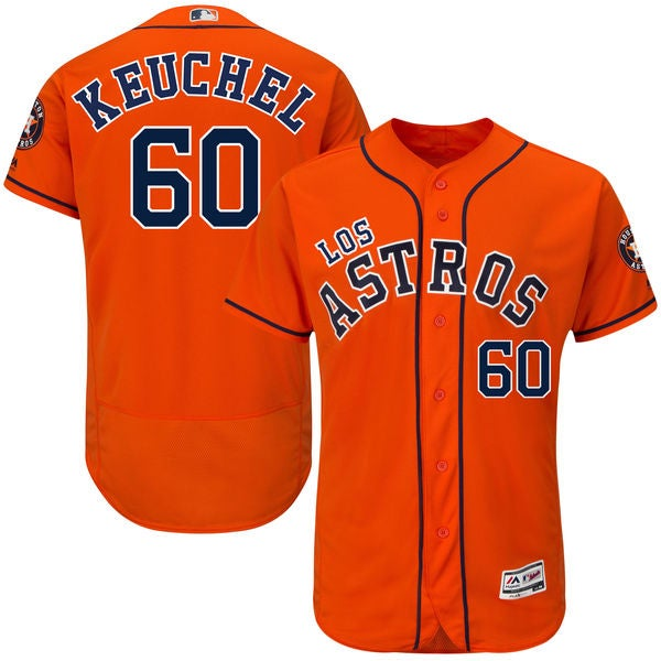 Image of Men's Houston Astros Dallas Keuchel Orange Fashion Los Player Jersey