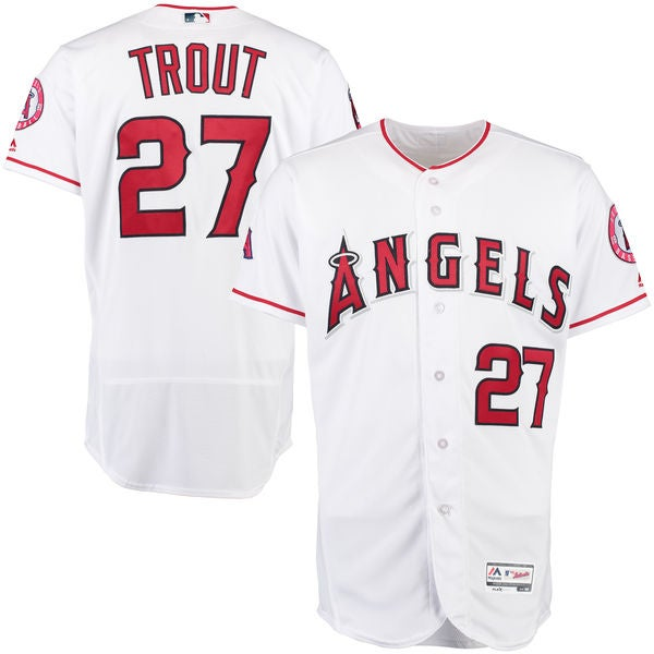 Image of Men's Los Angeles Angels Mike Trout #27 Majestic White Home Big & Tall Cool Base Player Jersey
