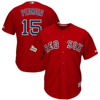 Image of Men's Boston Red Sox Dustin Pedroia Majestic Scarlet 2017 Postseason Cool Base Player Jersey
