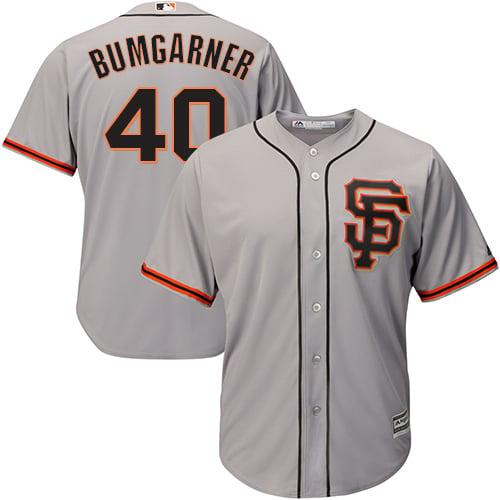 Image of Men's San Francisco Giants Madison Bumgarner Majestic Gray Road Cool Base Player Jersey