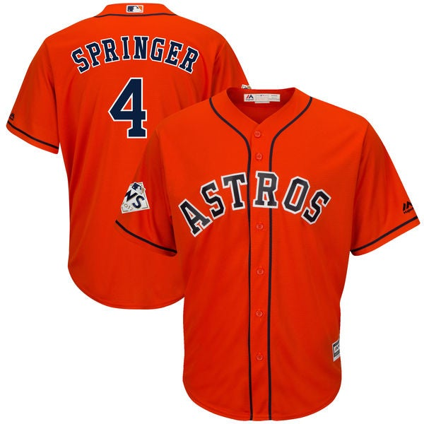 Image of Men's Houston Astros George Springer Majestic Orange 2017 World Series Bound Cool Base Player Jersey