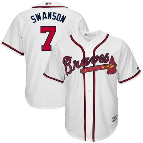 Image of Men's Dansby Swanson Atlanta Braves Majestic Home Flex Base Authentic Collection Player Jersey