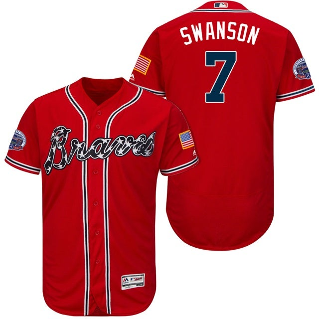Image of Men's Dansby Swanson Atlanta Braves Majestic Alternate Authentic Collection Flex Base Player Jersey