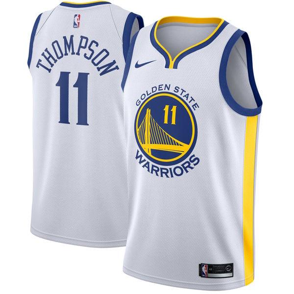 Image of Men's Golden State Warriors Klay Thompson Nike White Swingman Jersey - Association Edition