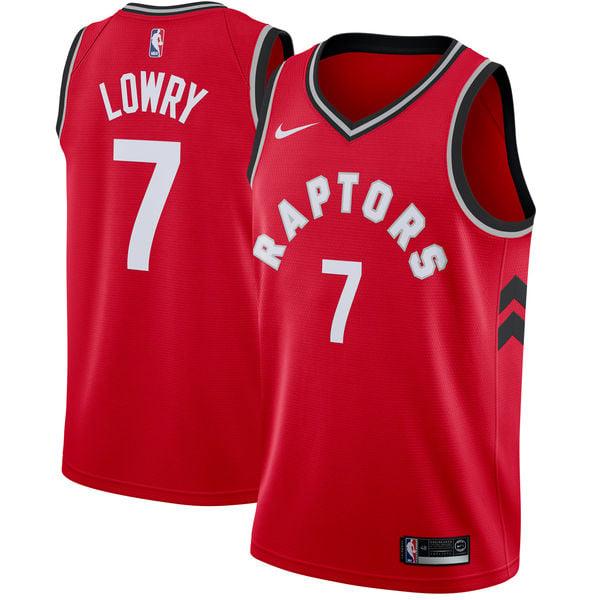 Image of Men's Toronto Raptors Kyle Lowry Nike Red Swingman Jersey - Icon Edition
