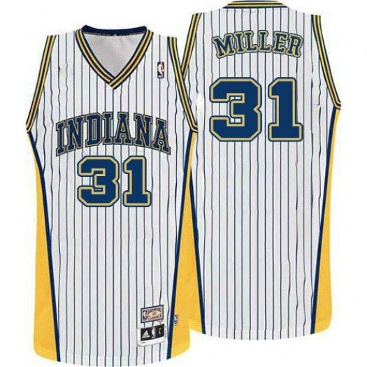 Image of Men's Indiana Pacers 31 Reggie Miller White Throwback Classic Swingman Jersey Hardwood Classic