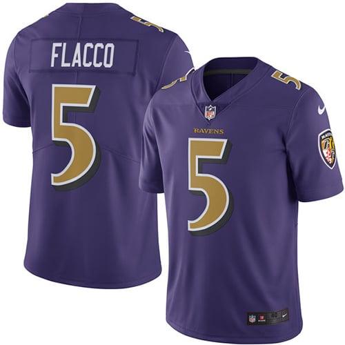 Image of Men's Baltimore Ravens Joe Flacco Nike Purple Color Rush Legend Jersey