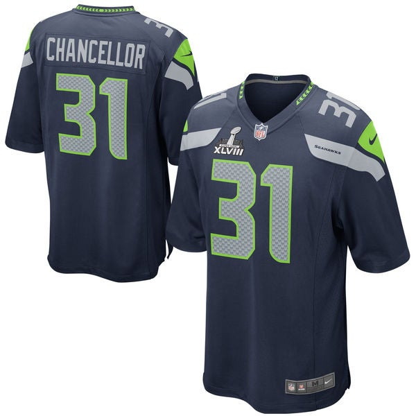 Image of Men's Seattle Seahawks Kam Chancellor Nike College Navy Elite Jersey