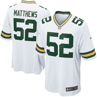 Image of Men's Clay Matthews Jersey Packers #52 XL Nike Away White