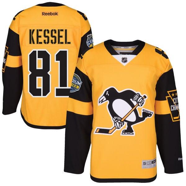 Image of Men's 2017 Stanley Cup Pittsburgh Penguins Hockey Jersey #81 Phil Kessel Black