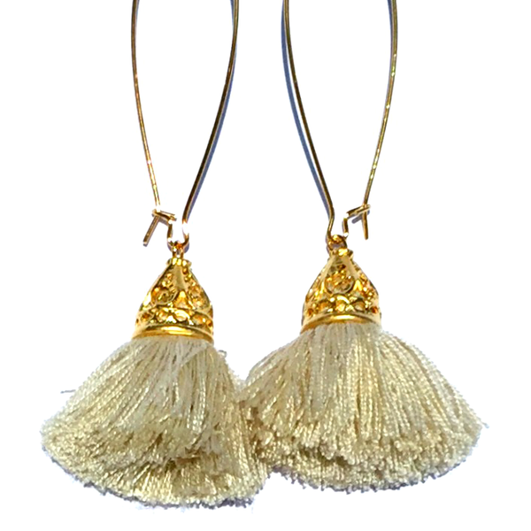 Image of Ltd Ed - Gold Waikiki Tassel Earrings - Biscuit Beige