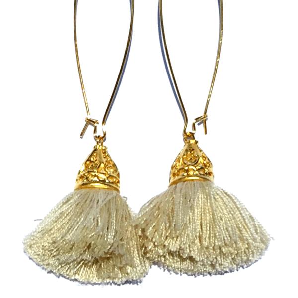 Image of Ltd Ed - Gold Waikiki Tassel Earrings - Biscuit Beige