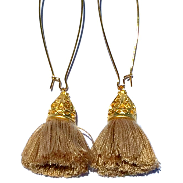 Image of Gold Waikiki Tassel Earrings - Caramel