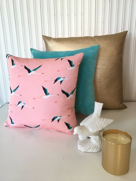 Image of Flamingos In Flight Cushion Cover