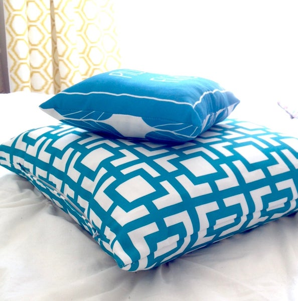 Image of Mod Squares Cushion Cover in Fleur Blue