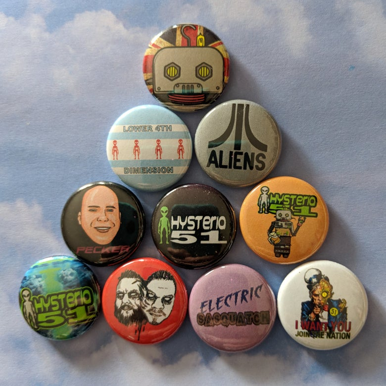 Image of Hysteria 51 Podcast - $5 for 10 buttons! - may take 2-4 weeks to ship