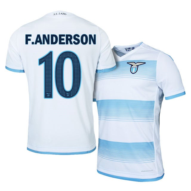 Image of Men's Felipe Anderson 2016-17 Lazio Third White Jersey