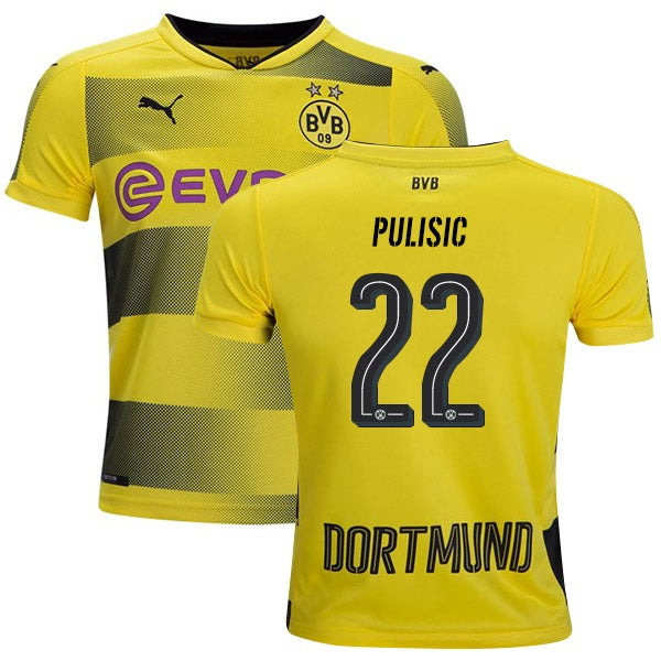 Image of Men's Puma BVB Home Jersey Youth 2017/18 Yellow/Black