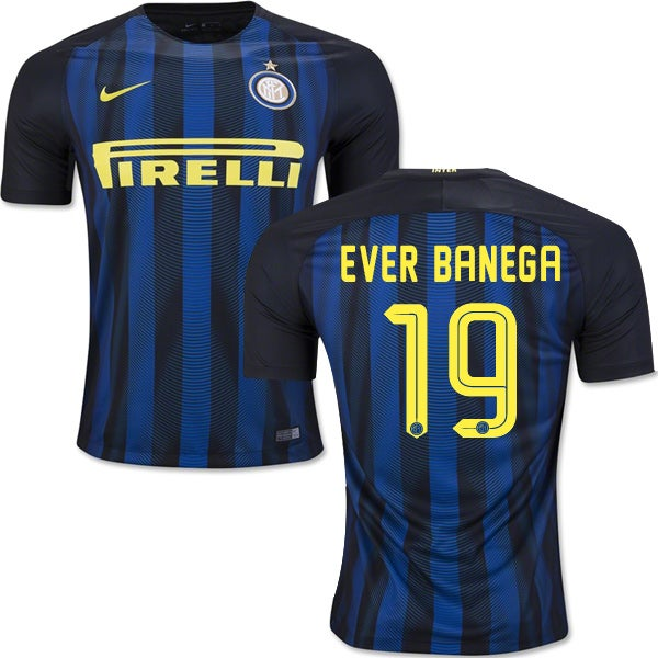 Image of Men's Nike 2016-17 Inter Milan Home Jersey Ever Banega #19