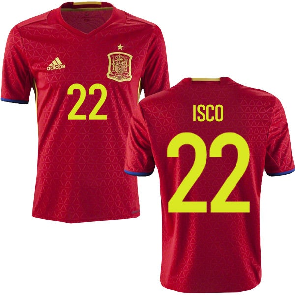 Image of Men's Adidas Isco Spain Home Jersey 2017/18