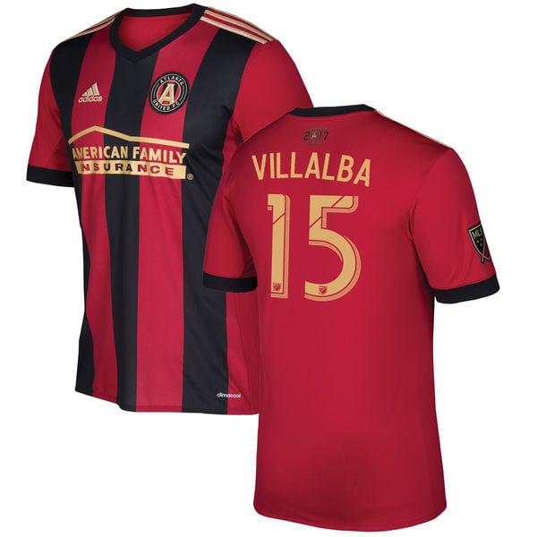 Image of Men's Adidas Villalba 15 Atlanta United Home Soccer Shirt Jersey 2017-18