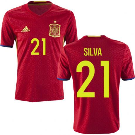 Image of Men's Adidas David Silva Spain Home Jersey 2018