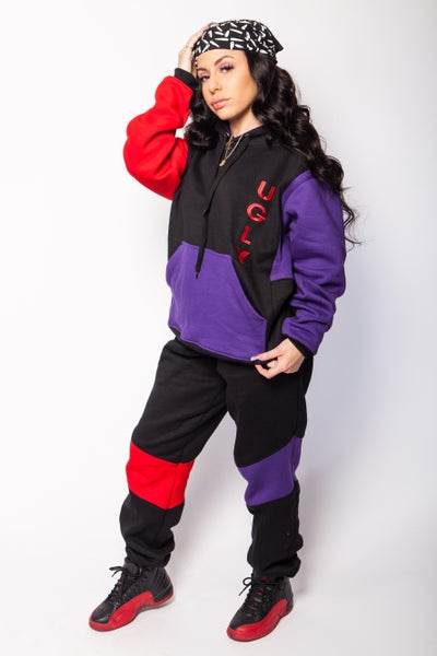 Image of Red Purple Black UGLY hoodie