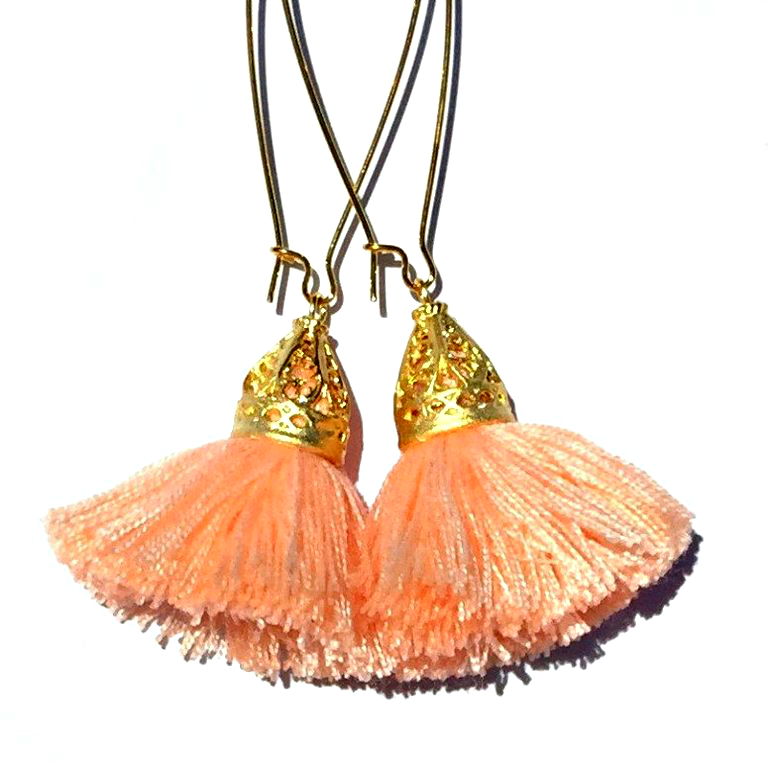 Image of Ltd Ed - Gold Waikiki Tassel Earrings - Apricot