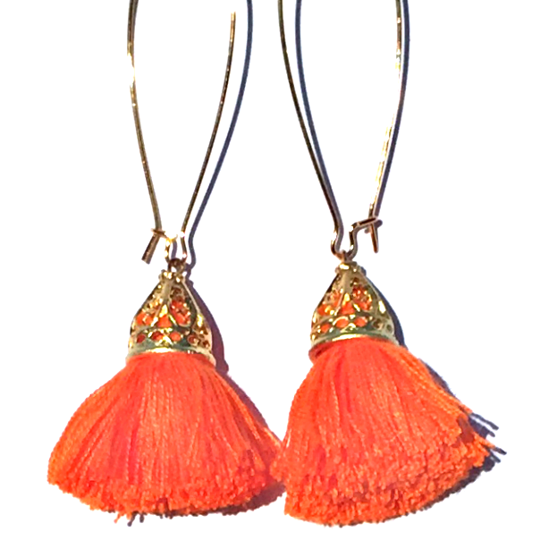 Image of Ltd Ed - Gold Waikiki Tassel Earrings - Tangerine