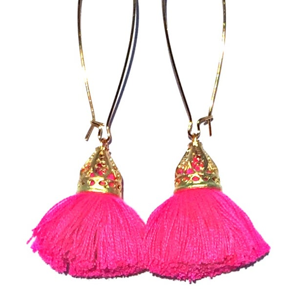 Image of Gold Waikiki Tassel Earrings - Bright Flamingo