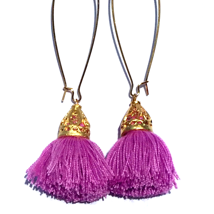 Image of CLEARANCE - Gold Waikiki Tassel Earrings - Lilac