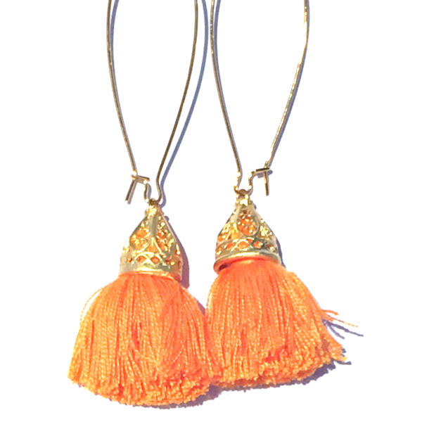 Image of LUCKY LASTS - Gold Waikiki Tassel Earrings - Papaya Orange