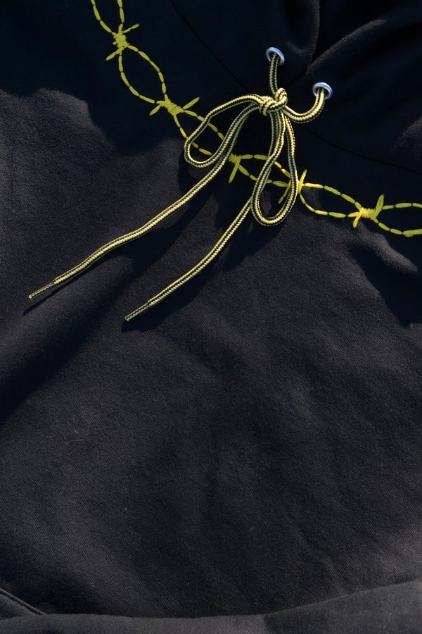 HAND EMBROIDERED YELLOW BARBED PULLOVER - Sean + Kelly