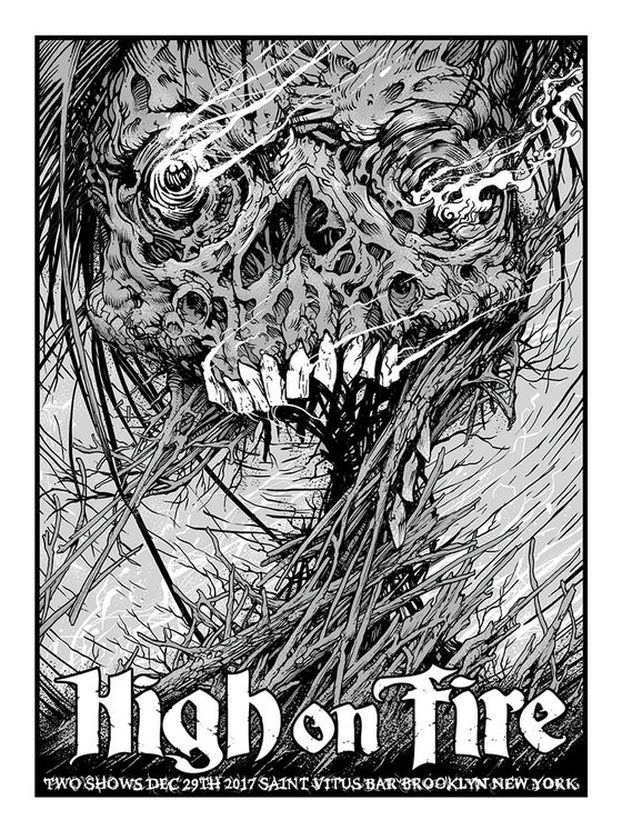 Image of High on Fire 2017 Saint Vitus NYC Gigposter