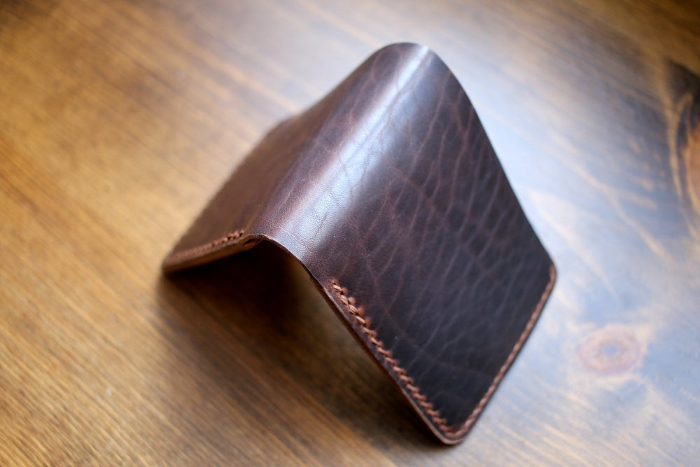 Image of Traditional Bifold Wallet in Horween Waxed Flesh Dark Nut Dublin