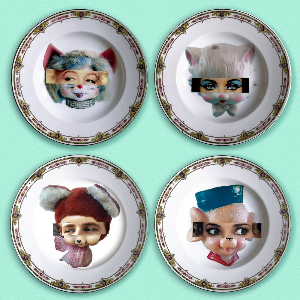 Image of Eyeconic - Marlon Kitsch Face - Vintage Porcelain Plate - #0579