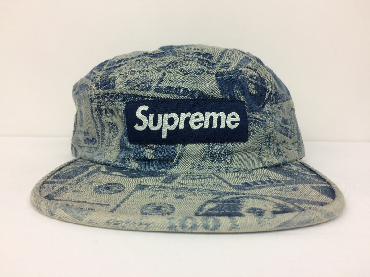 Image of Supreme 100 dollar bill camp cap