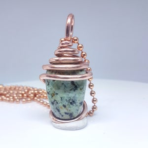 Image of Copper Wrapped Tumbled Turquoise