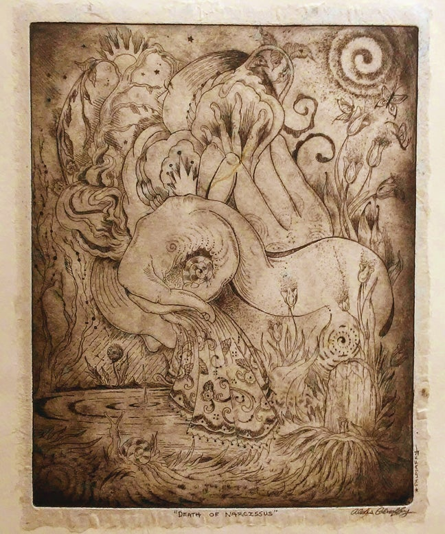 Image of Death of Narcissus Etching - Chine Colle'