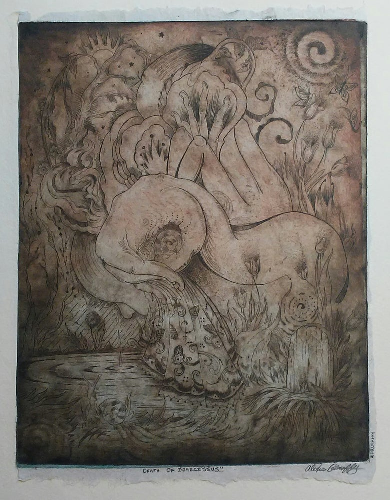 Image of Death of Narcissus Etching - Muted Earth Tones