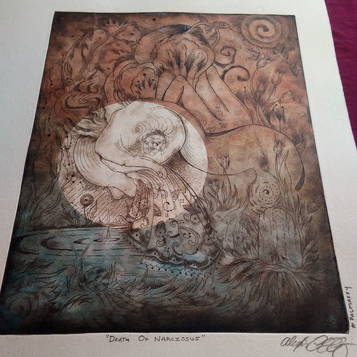 Image of Death of Narcissus - Full Moon Etching