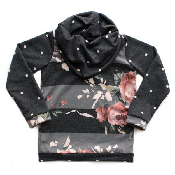Image of Floral Dot Cowl Neck Raglan